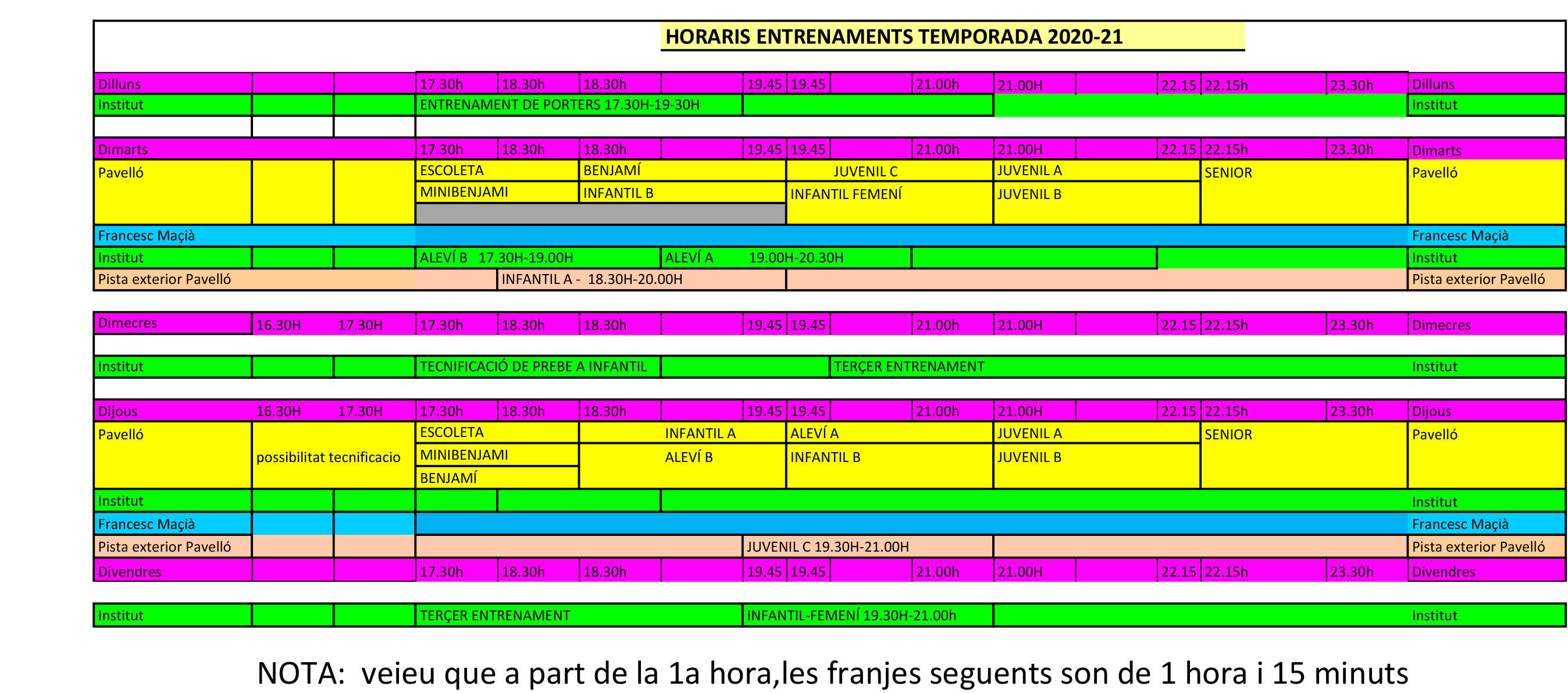 HORARIS ENTRENO 2020-21 150920 - HORARIS 2020-21