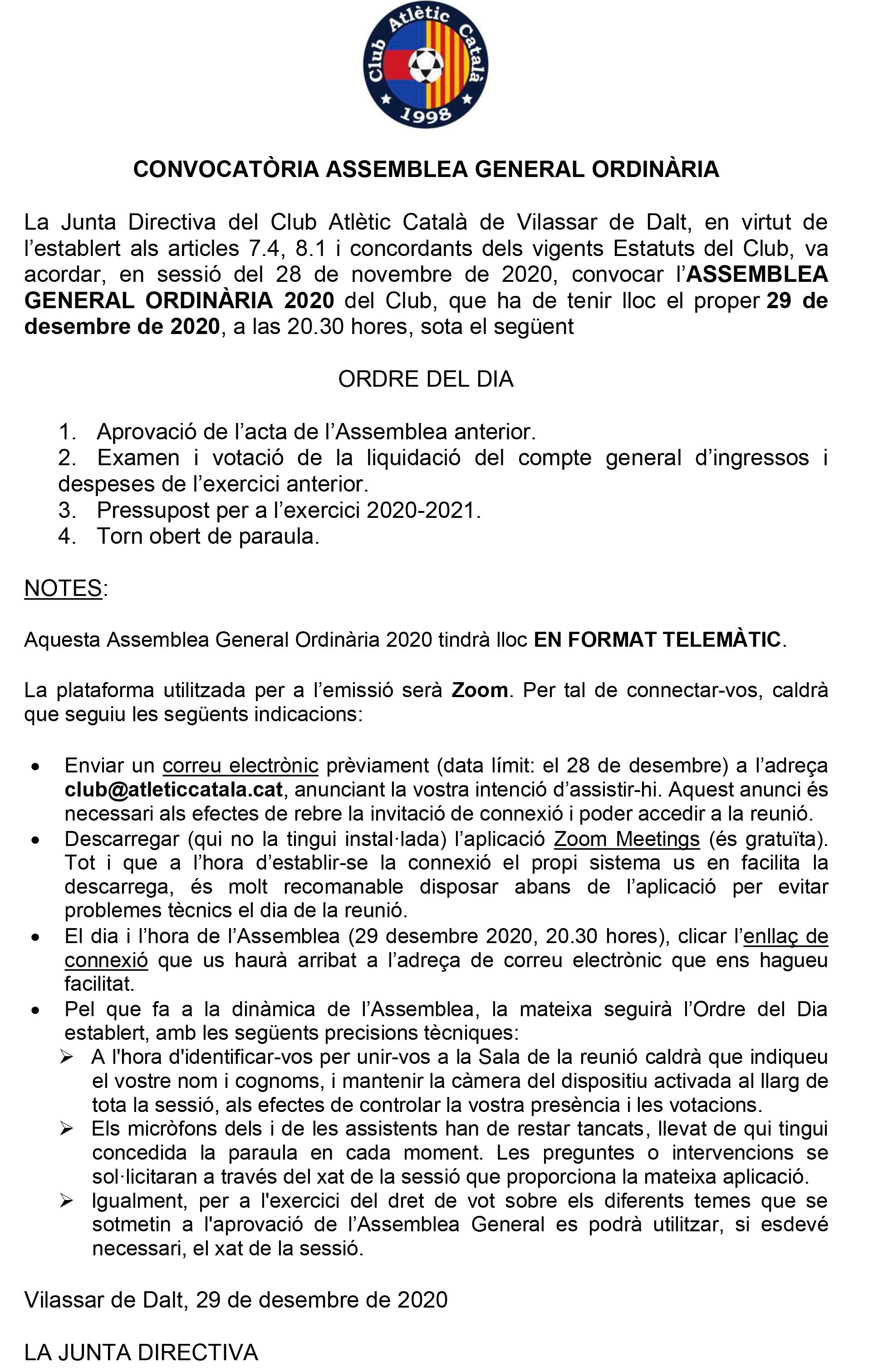 CONV. ASSEMBLEA ORDINARIA ATLETIC CATALA 2020 (1)
